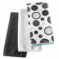 3 PC BLACK/GREY DOTS  MICROFIBER TEA TOWELS MULTI COLOUR DISH CLOTH CLEAN TOWEL