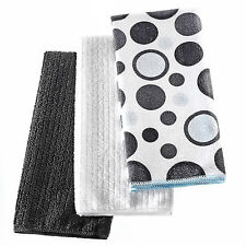 3 PC BLACK/GREY DOTS  MICROFIBER TEA TOWELS MULTI COLOUR DISH CLOTH CLEAN TOWEL