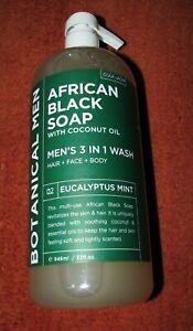 BOTANICAL MEN AFRICAN BLACK SOAP (32 fl oz) Pump (MINT) Hair Face & Body Wash