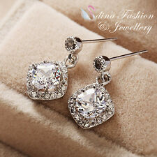 18k White Gold Plated Simulated Diamond Exquisite Diamond Shaped Silver Earrings