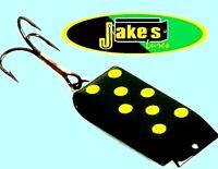 Jake's Li'l Jake Versatile Black & Yellow Dots Spin-A-Lure Fishing Spinning Lure
