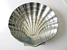 BIG Silver Cast Aluminum Scallop Shell Bowl Marine Coastal Tropical Décor
