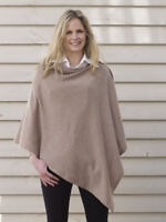 CASHMERE Poncho LIGHT BROWN , CAPE Wrap One Size Fits All, FREE UK Shipping,