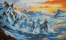 "Needlepoint Kit ""Horses"" 19.7""x11.8"" (50x30cm) printed canvas 418"