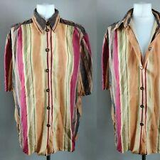 Vintage Women Blouse Striped Collar Button Retro Hipster Blogger Grunge 16 XL