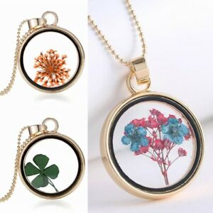 Natürliche Getrocknete Blume Runde Glas Anhänger Halskette Frauen Schmuck