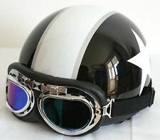Retro Casque bol Moto dax Blanc étoile Solex Vespa NOIR Lunettes/Visière M L XL