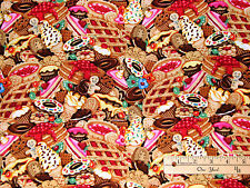 Multi Sweets Doughnut Gingerbread Cup Cake Pie Sweet Tooth Fabric by the 1/2 Yrd