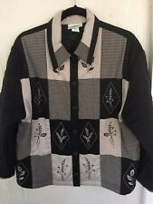 "G. W. Women's PATCH WORK QUILTED JACKET ""Warm"" Black Taupe Gray Size XL"