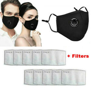 Adult Face Mask+Filters+Valve Protective Mouth Covering Shield Washable Reusable