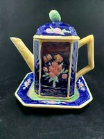 Vintage Colorful Cobalt Majolica ART POTTERY Square Coffee pot and saucer RARE!