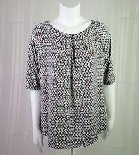 Liz Claiborne XL Short Sleeve Silky Geometric Career Top Shirt Blouse Red White