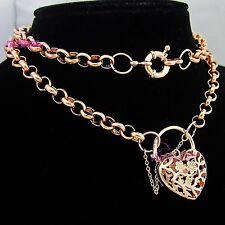 Real Solid 18k Rose Gold GF Womens Necklace Bolt Rings Chain Clasp Heart Padlock