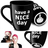 Funny Coffee Mug Great Gift Have A Nice Day Mugs Black Cup 14 oz Middle Finger