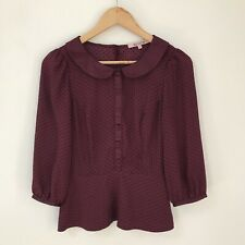 Review Womens Top, Size 8, Peplum Polka Dot Maroon Red Black