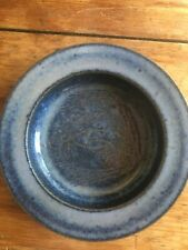 Exceptional Shallow Blue Bowl with Incised Faces by Scheier