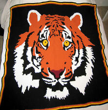 HANDMADE Crochet AFGHAN Knit THROW Bengal TIGER Quilt COUCH Lap KIDS Bed BLANKET