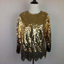Vintage Tris Gold Beaded Top Womens 12 Sequined Paisley Dolman