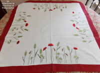 NAPPE SURNAPPE CENTRE DE TABLE BRODEE POLYLIN  85X85   COQUELICOTS 2 TONS
