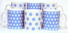 Baby Blue Dots and Spots Mugs Set of 6 Blue Porcelain Mugs Hand Decorated UK