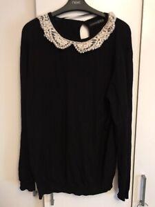 Primark Black Pearl Detail Peter Pan Collar Jumper, Size 14