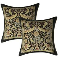 Handmade Cushion Cover Elephant Brocade Silk Black Pillow Cover Pair Throw 12""