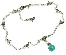 Chain Anklet Foot Jewellery Boho Silver Turquoise Bead Ankle Bracelet Dragonfly