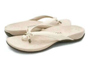 Vionic Womens Rest Bella II Cream Thong Sandals Slip On Slides Summer Shoes