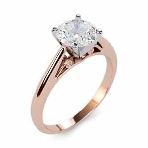 1.00 Ct Round Diamond Engagement Ring 14K Solid Rose Gold Wedding Size 5 6.5 7
