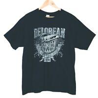 Delorean Back to the Future Mens Black T-Shirt Size 2XL Outatime Lightning Rare