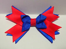 Handmade Girl Guides Blue&red Satin Bow on Alligator Clip to Match Uniform