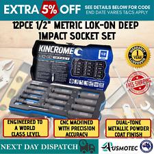 "Kincrome Impact Socket Metric Deep 1/2""LOK-ON Set & 12pce Auto Tool Accessories"
