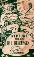 NEPTUNE ROOM BAR BEVERAGES MENU EARLE RESTAURANT WASHINGTON DC + NAPKIN*SEAHORSE