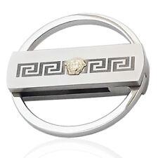 Portachiavi tondo mm 50 acciaio lucido-satinato gorgone in oro e greca laserata