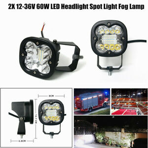 12-36V 60W Offroad/ Motorcycle LED Headlight Spot Light Square Driving Fog Lamp