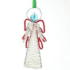 Clear African Handmade Maasai Bead Wire Christmas Angel Ornament