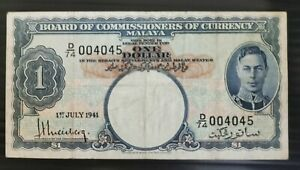 Malaya 1941 King G. VI $1 note with no 4045.
