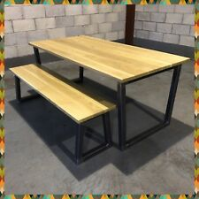 Industrial Table & Bench/Solid Oak/Furniture/Bar/Pub/Coffee Shop/Restaurant