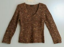 OUI MOMENTS Brown Gold Shimmer V-Neck Mohair Wool Blend Sweater Size S