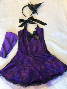 Ann Summers Sexy Witch Fancy Dress Costume + Knee High Socks - Dress Size 12