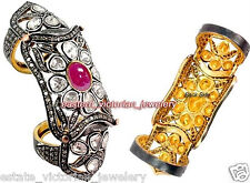 Artdeco Estate 4.95Cts Rose Antique Cut Diamond Ruby Silver Jewelry Knuckle Ring
