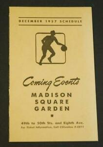 December 1957 Schedule Madison Square Garden Coming Event Mailer