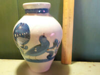 Vintage Mexico Pottery Vase Handpainted Blue Bird and Butterfly signed A Mex. 8""