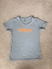 Wilson Ladies Grey Cotton Blend V-Neck Tshirt Size M (approx size 10)