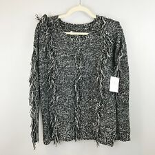 NWT VOLCOM Sweater Small Fringe Marled Soft Pullover Black White