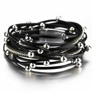 Multilayer Leather Bracelets Women Design Bead Charm Double Wrap Bangles Jewelry