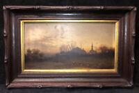 1800's Carved Black Forest style wood frame 1871 L Prang Chromo Orig labels Gilt