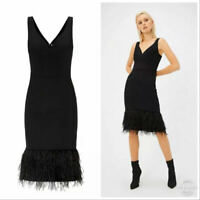 Coast Black Feather Hem Dress Evening Party Cocktail wedding wear Size 6 to 18