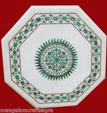 "18"" Marble Coffee Table Handmade Malachite Pietra dura Work Home Decor"