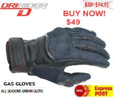 DRIRIDER Gas Motorcycle Gloves Short Cuff Denim Look/ Leather Road Dri Rider
